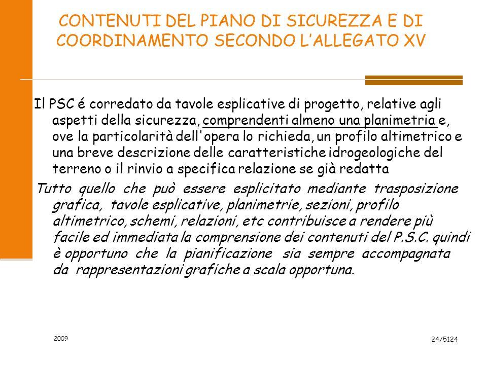 2009 24/5124 CONTENUTI DEL PIANO DI SICUREZZA E DI COORDINAMENTO SECONDO L'ALLEGATO XV Il PSC é corredato da tavole esplicative di progetto, relative