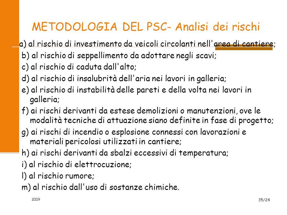 METODOLOGIA DEL PSC- Analisi dei rischi a) al rischio di investimento da veicoli circolanti nell'area di cantiere; b) al rischio di seppellimento da a