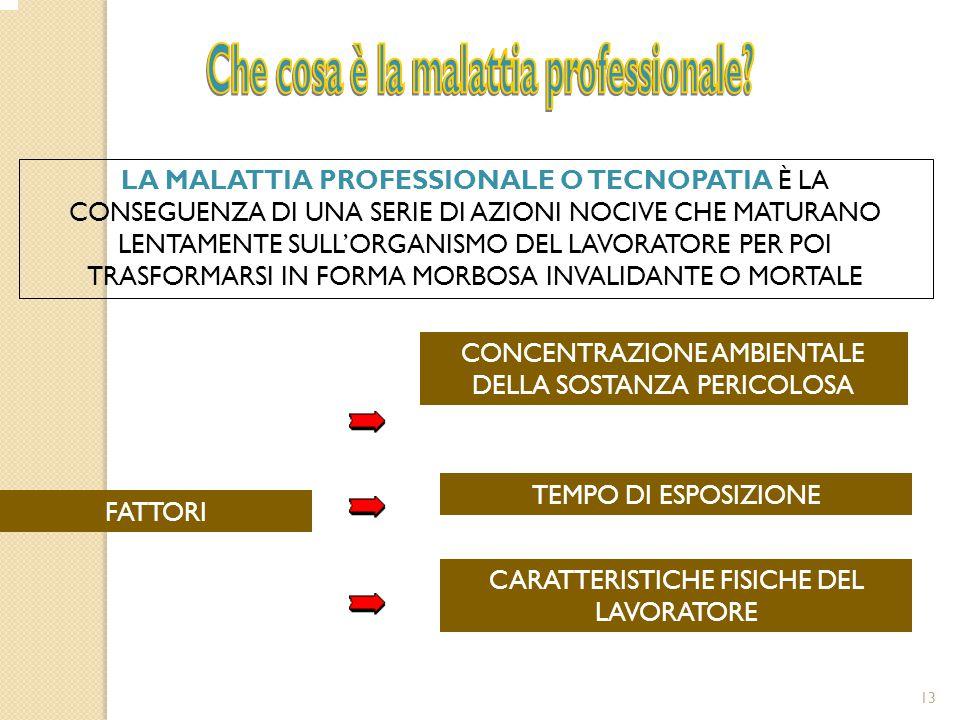 13 FATTORI CONCENTRAZIONE AMBIENTALE DELLA SOSTANZA PERICOLOSA TEMPO DI ESPOSIZIONE CARATTERISTICHE FISICHE DEL LAVORATORE LA MALATTIA PROFESSIONALE O