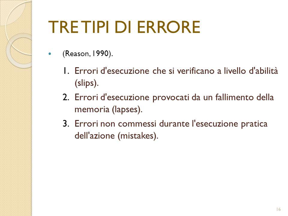 16 TRE TIPI DI ERRORE (Reason, 1990). 1.Errori d'esecuzione che si verificano a livello d'abilità (slips). 2.Errori d'esecuzione provocati da un falli