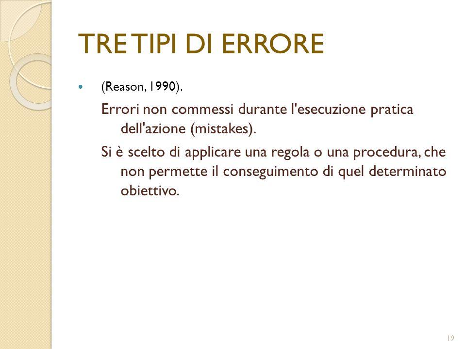 19 TRE TIPI DI ERRORE (Reason, 1990). Errori non commessi durante l'esecuzione pratica dell'azione (mistakes). Si è scelto di applicare una regola o u