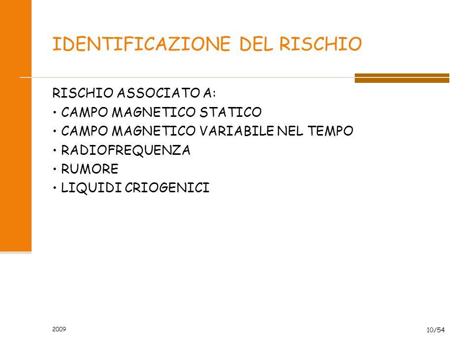 2009 10/54 IDENTIFICAZIONE DEL RISCHIO RISCHIO ASSOCIATO A: CAMPO MAGNETICO STATICO CAMPO MAGNETICO VARIABILE NEL TEMPO RADIOFREQUENZA RUMORE LIQUIDI