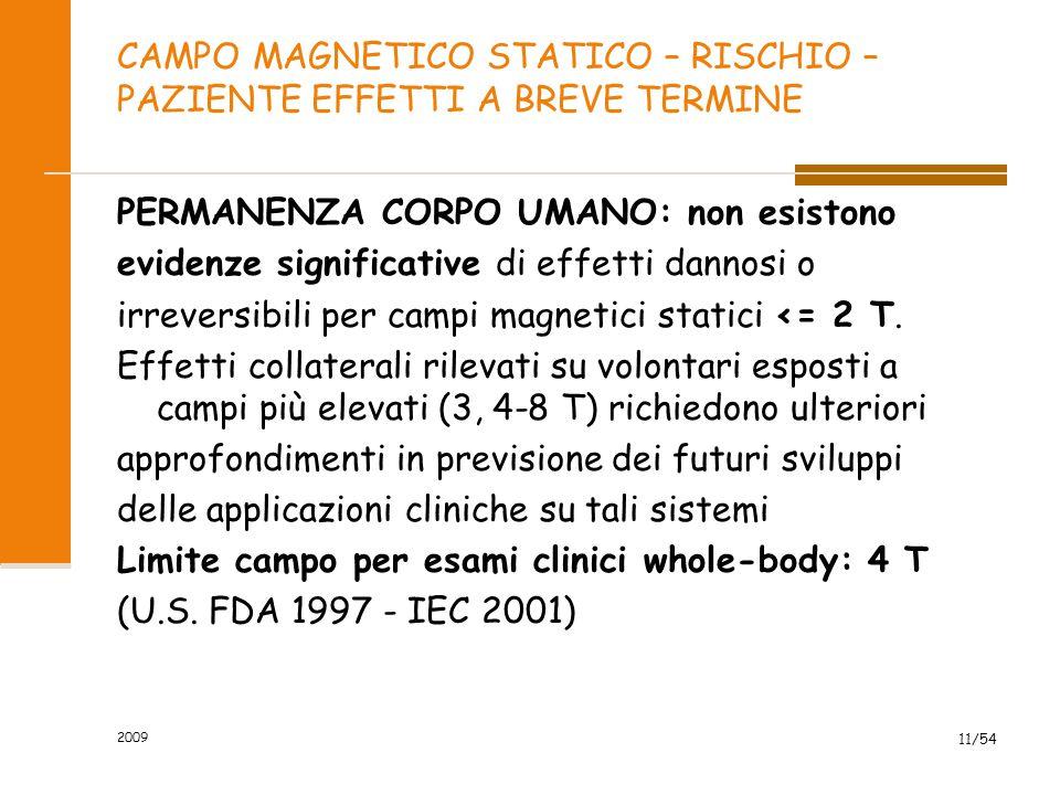 2009 11/54 CAMPO MAGNETICO STATICO – RISCHIO – PAZIENTE EFFETTI A BREVE TERMINE PERMANENZA CORPO UMANO: non esistono evidenze significative di effetti