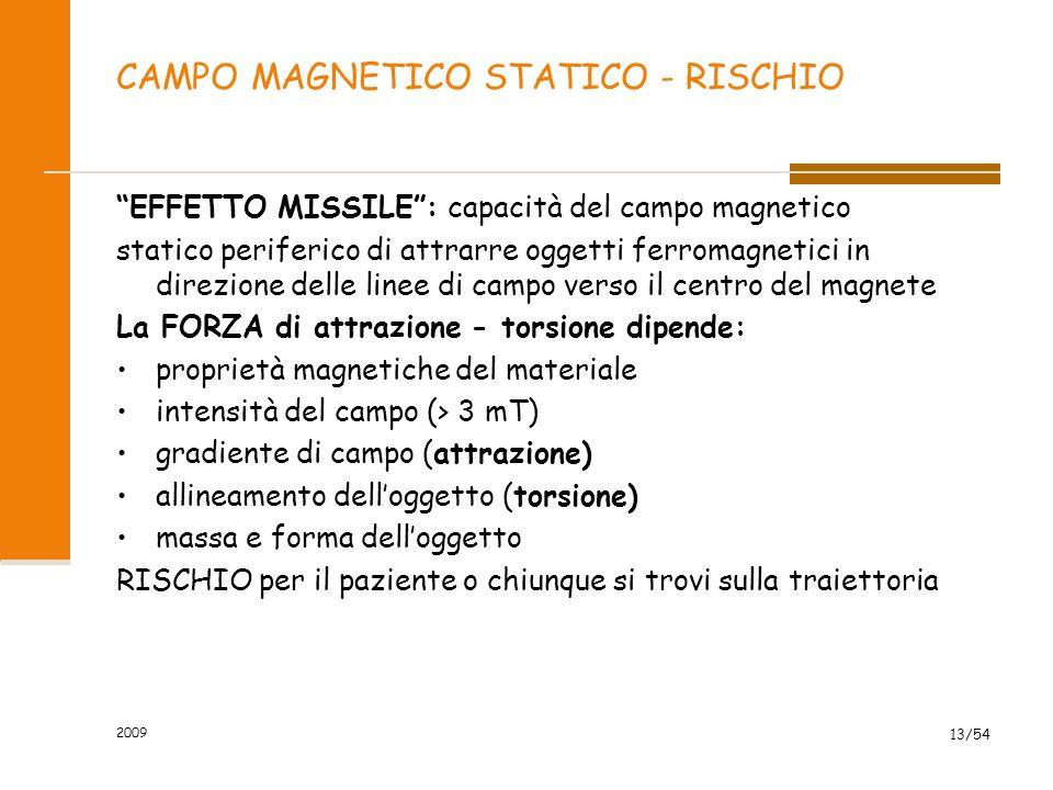 """2009 13/54 CAMPO MAGNETICO STATICO - RISCHIO """"EFFETTO MISSILE"""": capacità del campo magnetico statico periferico di attrarre oggetti ferromagnetici in"""
