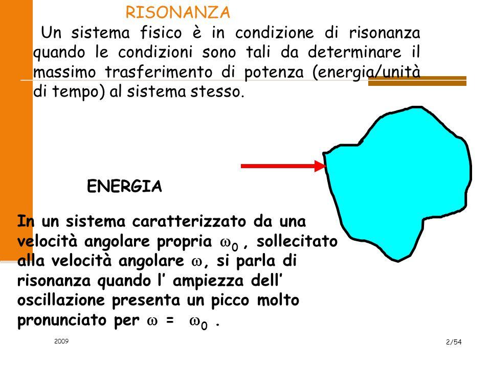 2009 2/54 RISONANZA Un sistema fisico è in condizione di risonanza quando le condizioni sono tali da determinare il massimo trasferimento di potenza (