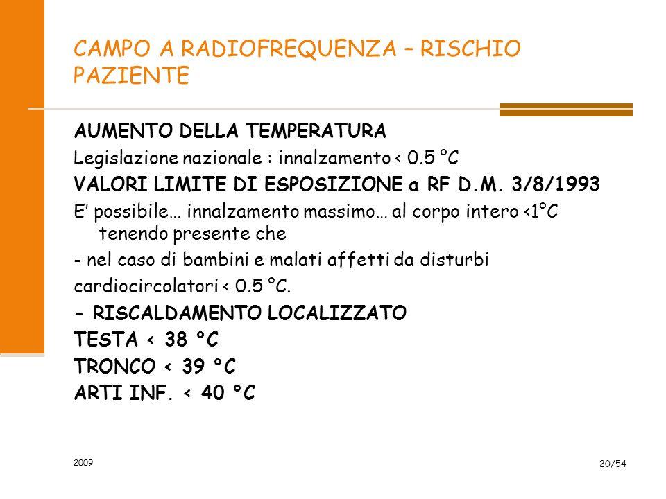 2009 20/54 CAMPO A RADIOFREQUENZA – RISCHIO PAZIENTE AUMENTO DELLA TEMPERATURA Legislazione nazionale : innalzamento < 0.5 °C VALORI LIMITE DI ESPOSIZ