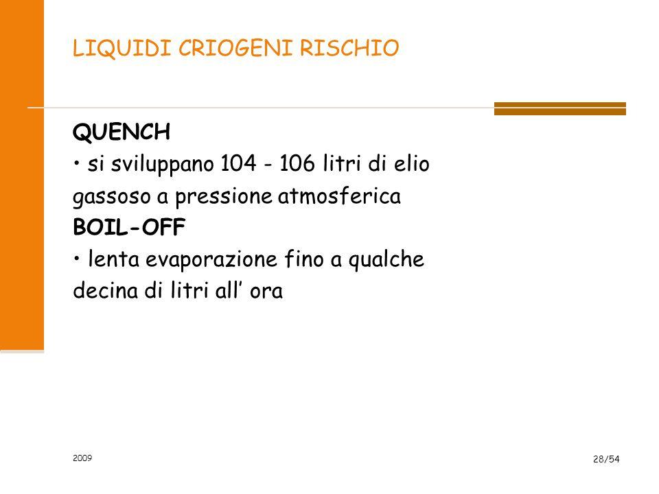 2009 28/54 LIQUIDI CRIOGENI RISCHIO QUENCH si sviluppano 104 - 106 litri di elio gassoso a pressione atmosferica BOIL-OFF lenta evaporazione fino a qu