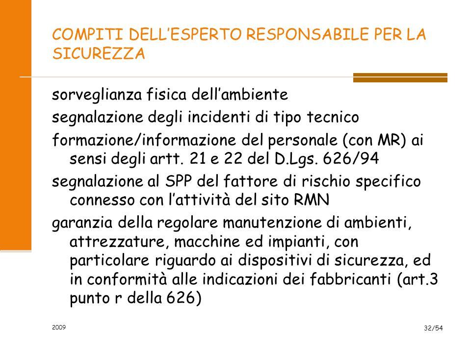 2009 32/54 COMPITI DELL'ESPERTO RESPONSABILE PER LA SICUREZZA sorveglianza fisica dell'ambiente segnalazione degli incidenti di tipo tecnico formazion