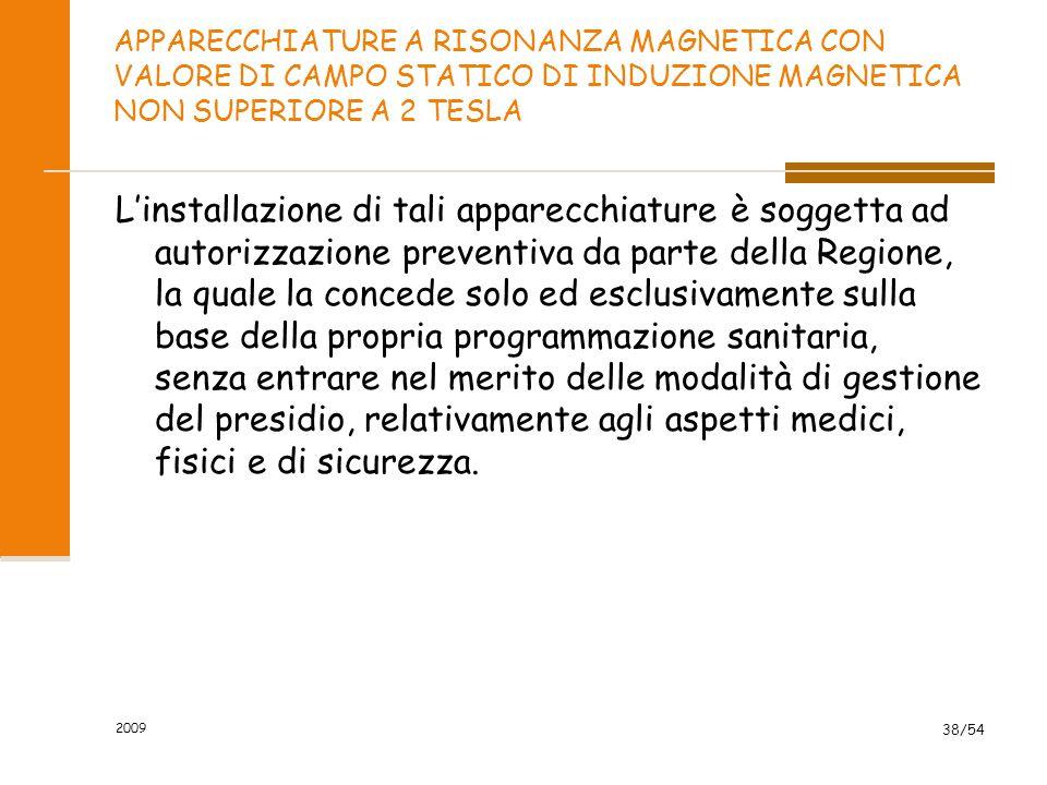 2009 38/54 APPARECCHIATURE A RISONANZA MAGNETICA CON VALORE DI CAMPO STATICO DI INDUZIONE MAGNETICA NON SUPERIORE A 2 TESLA L'installazione di tali ap