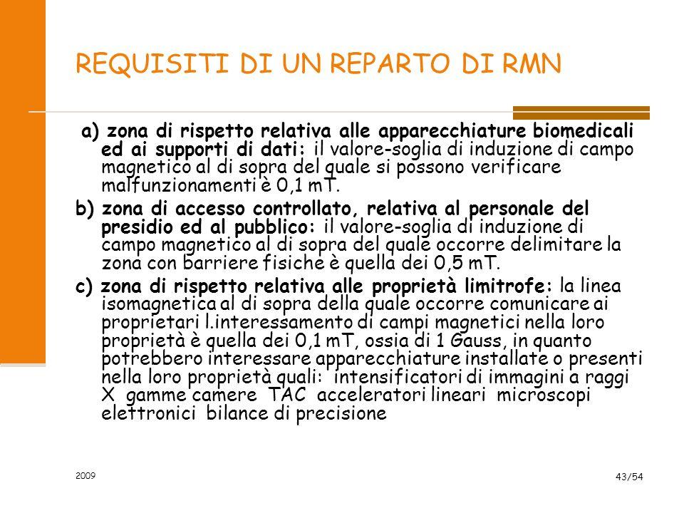 2009 43/54 REQUISITI DI UN REPARTO DI RMN a) zona di rispetto relativa alle apparecchiature biomedicali ed ai supporti di dati: il valore-soglia di in