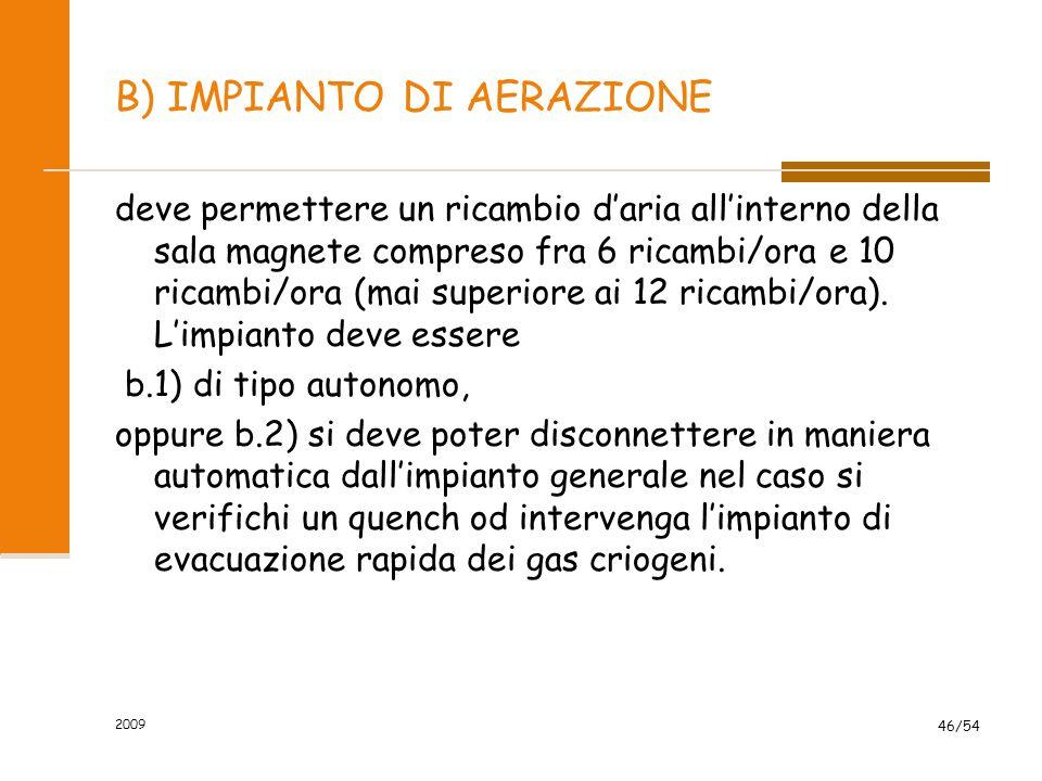 2009 46/54 B) IMPIANTO DI AERAZIONE deve permettere un ricambio d'aria all'interno della sala magnete compreso fra 6 ricambi/ora e 10 ricambi/ora (mai