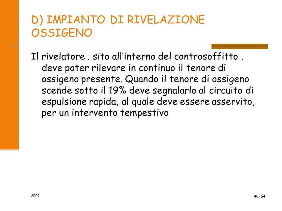 2009 48/54 D) IMPIANTO DI RIVELAZIONE OSSIGENO Il rivelatore. sito all'interno del controsoffitto. deve poter rilevare in continuo il tenore di ossige