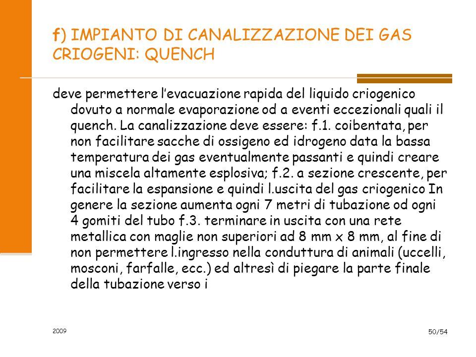 2009 50/54 f) IMPIANTO DI CANALIZZAZIONE DEI GAS CRIOGENI: QUENCH deve permettere l'evacuazione rapida del liquido criogenico dovuto a normale evapora