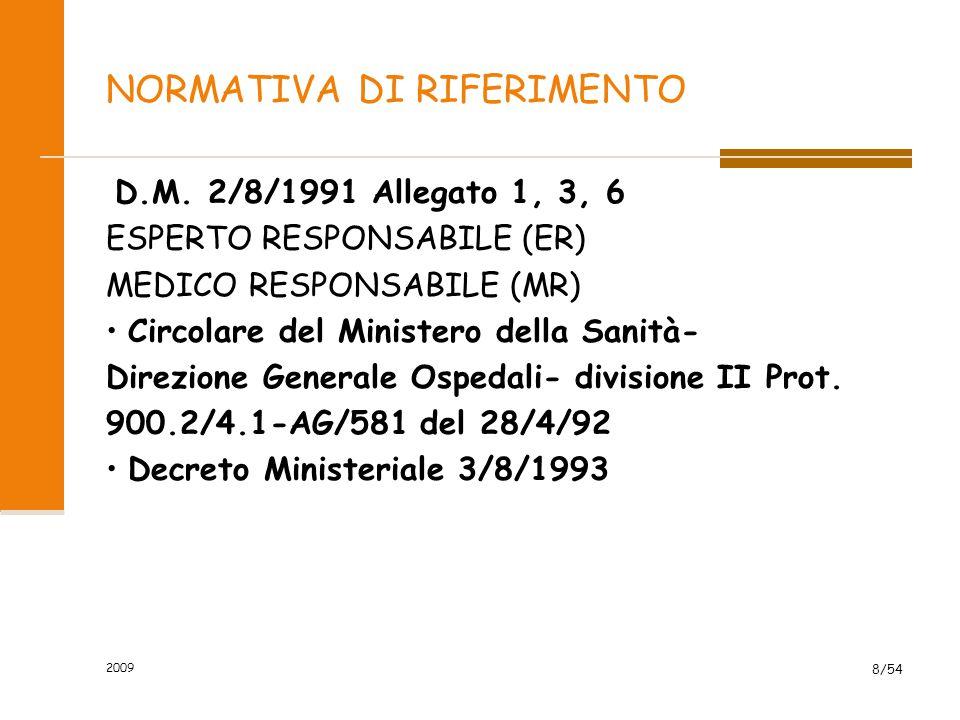 2009 8/54 NORMATIVA DI RIFERIMENTO D.M. 2/8/1991 Allegato 1, 3, 6 ESPERTO RESPONSABILE (ER) MEDICO RESPONSABILE (MR) Circolare del Ministero della San