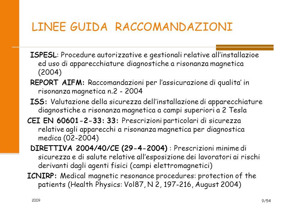 2009 9/54 LINEE GUIDA RACCOMANDAZIONI ISPESL: Procedure autorizzative e gestionali relative all'installazioe ed uso di apparecchiature diagnostiche a