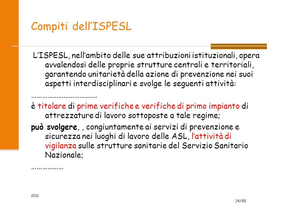 14/88 2010 Compiti dell'ISPESL L'ISPESL, nell'ambito delle sue attribuzioni istituzionali, opera avvalendosi delle proprie strutture centrali e territ