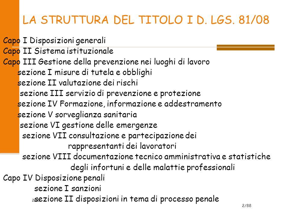 2/88 2010 LA STRUTTURA DEL TITOLO I D. LGS. 81/08 Capo I Disposizioni generali Capo II Sistema istituzionale Capo III Gestione della prevenzione nei l