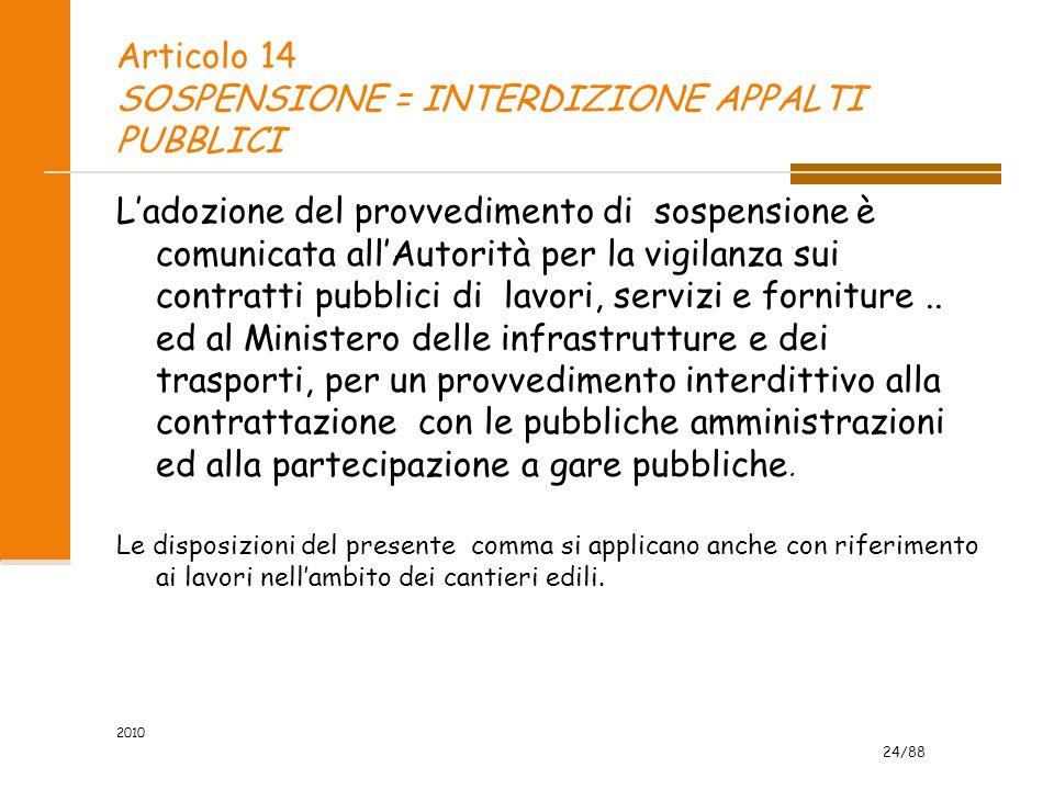 24/88 2010 Articolo 14 SOSPENSIONE = INTERDIZIONE APPALTI PUBBLICI L'adozione del provvedimento di sospensione è comunicata all'Autorità per la vigilanza sui contratti pubblici di lavori, servizi e forniture..
