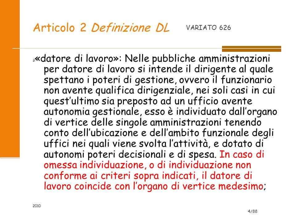 4/88 2010 Articolo 2 Definizione DL b «datore di lavoro»: Nelle pubbliche amministrazioni per datore di lavoro si intende il dirigente al quale spetta