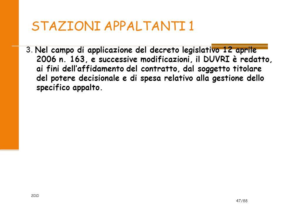 47/88 STAZIONI APPALTANTI 1 3. Nel campo di applicazione del decreto legislativo 12 aprile 2006 n. 163, e successive modificazioni, il DUVRI è redatto