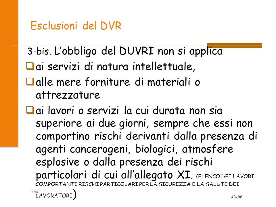 48/88 Esclusioni del DVR 3-bis. L'obbligo del DUVRI non si applica  ai servizi di natura intellettuale,  alle mere forniture di materiali o attrezza