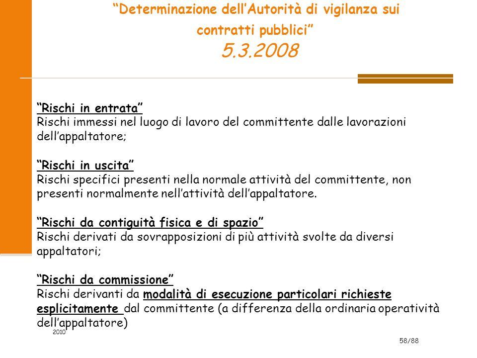 58/88 Determinazione dell'Autorità di vigilanza sui contratti pubblici 5.3.2008 Rischi in entrata Rischi immessi nel luogo di lavoro del committente dalle lavorazioni dell'appaltatore; Rischi in uscita Rischi specifici presenti nella normale attività del committente, non presenti normalmente nell'attività dell'appaltatore.
