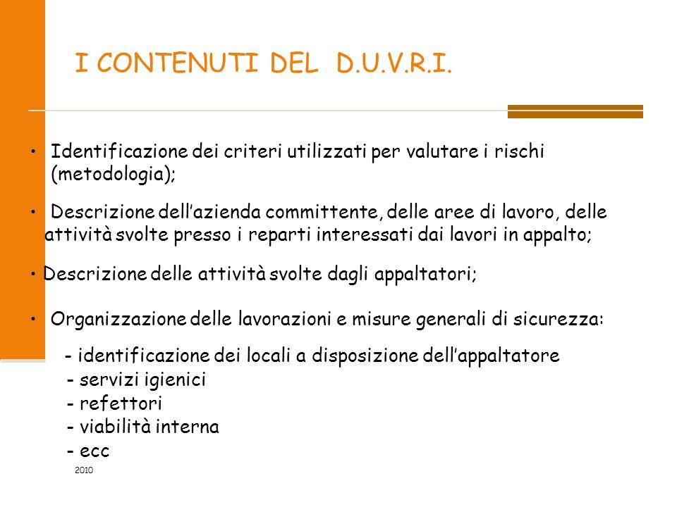 I CONTENUTI DEL D.U.V.R.I. Identificazione dei criteri utilizzati per valutare i rischi (metodologia); Descrizione dell'azienda committente, delle are