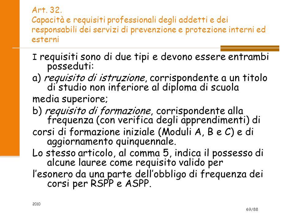 69/88 2010 Art. 32. Capacità e requisiti professionali degli addetti e dei responsabili dei servizi di prevenzione e protezione interni ed esterni I r