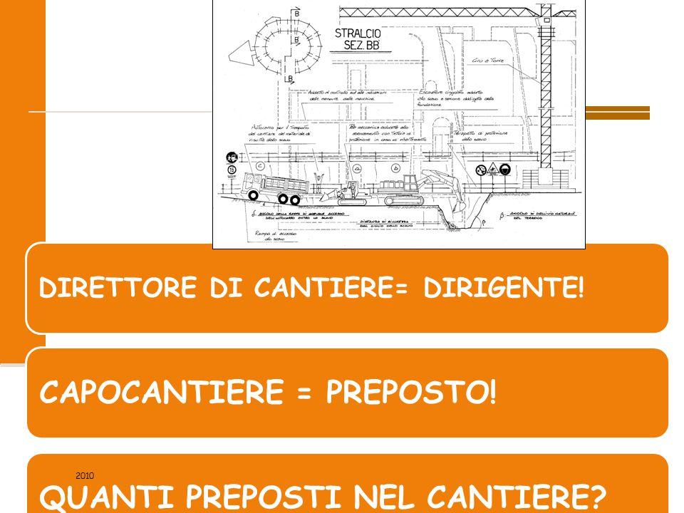 7/88 DIRETTORE DI CANTIERE= DIRIGENTE! CAPOCANTIERE = PREPOSTO!QUANTI PREPOSTI NEL CANTIERE? 2010