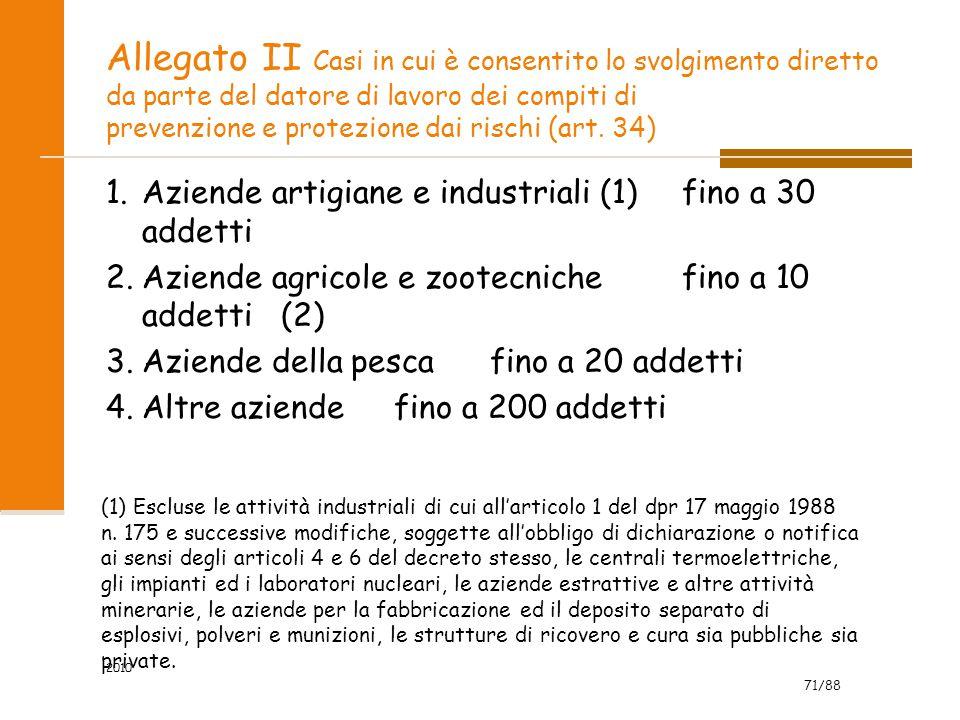 71/88 2010 Allegato II Casi in cui è consentito lo svolgimento diretto da parte del datore di lavoro dei compiti di prevenzione e protezione dai rischi (art.