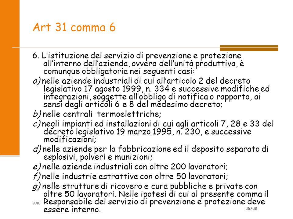 86/88 2010 Art 31 comma 6 6. L'istituzione del servizio di prevenzione e protezione all'interno dell'azienda, ovvero dell'unità produttiva, è comunque