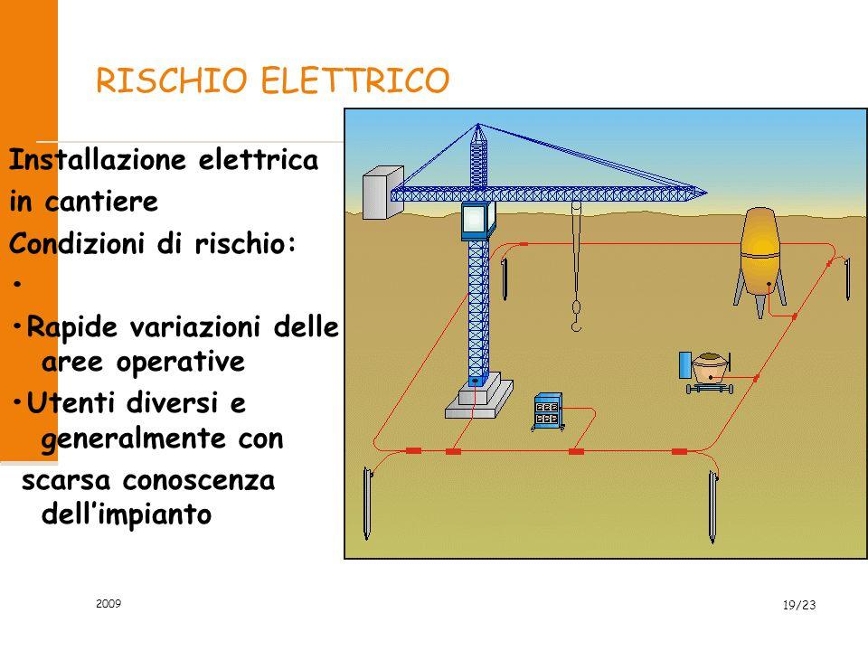 RISCHIO ELETTRICO Installazione elettrica in cantiere Condizioni di rischio: Rapide variazioni delle aree operative Utenti diversi e generalmente con scarsa conoscenza dell'impianto 2009 19/23
