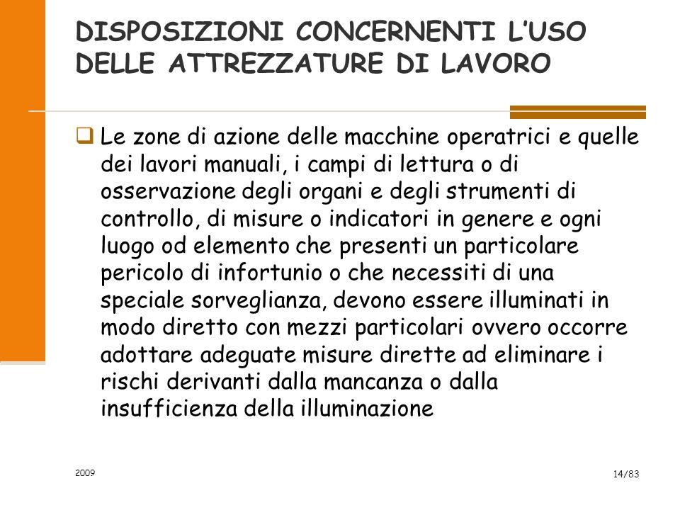 DISPOSIZIONI CONCERNENTI L'USO DELLE ATTREZZATURE DI LAVORO  Le zone di azione delle macchine operatrici e quelle dei lavori manuali, i campi di lett