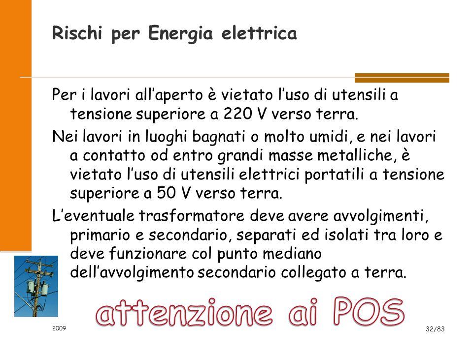 Rischi per Energia elettrica Per i lavori all'aperto è vietato l'uso di utensili a tensione superiore a 220 V verso terra.