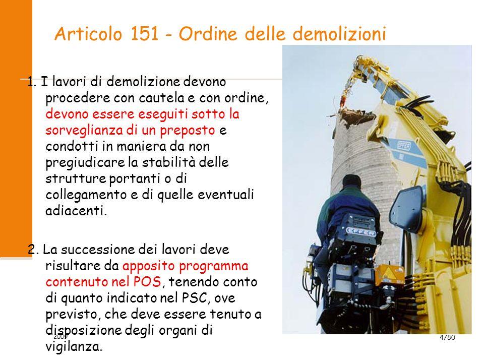 Articolo 151 - Ordine delle demolizioni 1. I lavori di demolizione devono procedere con cautela e con ordine, devono essere eseguiti sotto la sorvegli