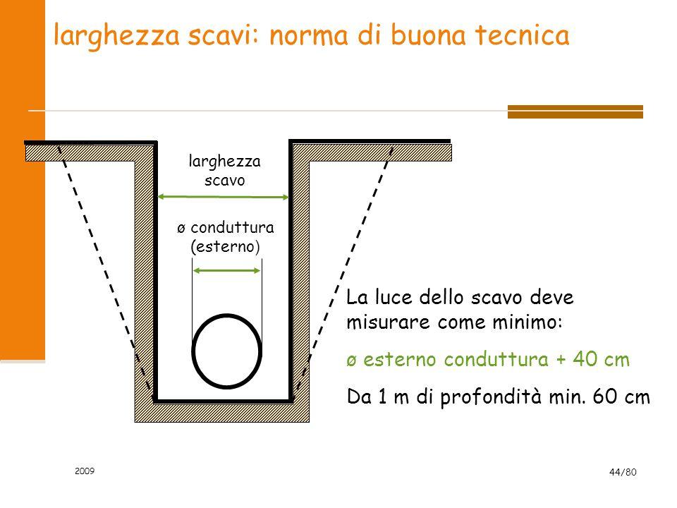 2009 44/80 larghezza scavi: norma di buona tecnica larghezza scavo ø conduttura (esterno ) La luce dello scavo deve misurare come minimo: ø esterno co