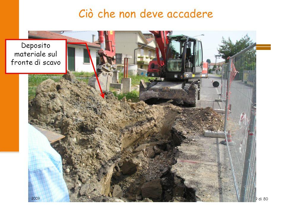 49 di 80 Ciò che non deve accadere Deposito materiale sul fronte di scavo 2009