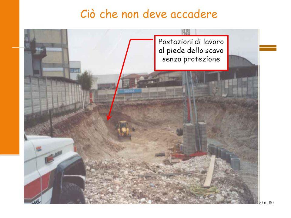 50 di 80 Ciò che non deve accadere Postazioni di lavoro al piede dello scavo senza protezione 2009