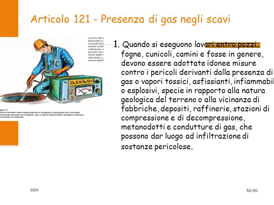 Articolo 121 - Presenza di gas negli scavi 1. Quando si eseguono lavori entro pozzi, fogne, cunicoli, camini e fosse in genere, devono essere adottate