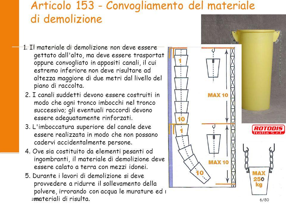 Articolo 153 - Convogliamento del materiale di demolizione 1. Il materiale di demolizione non deve essere gettato dall'alto, ma deve essere trasportat