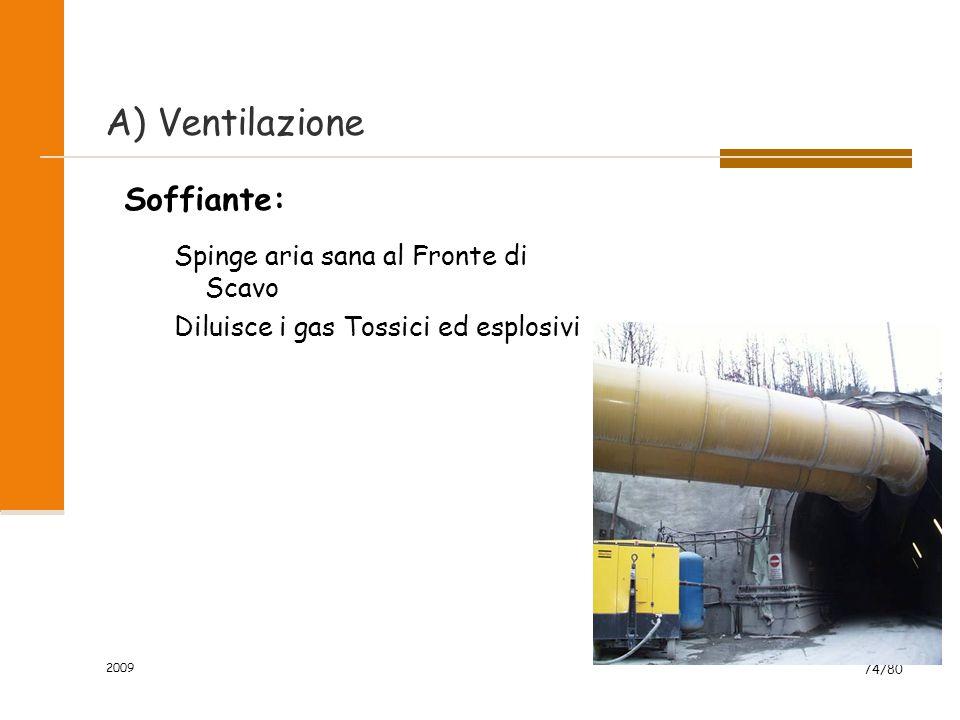 2009 74/80 Soffiante: Spinge aria sana al Fronte di Scavo Diluisce i gas Tossici ed esplosivi A) Ventilazione