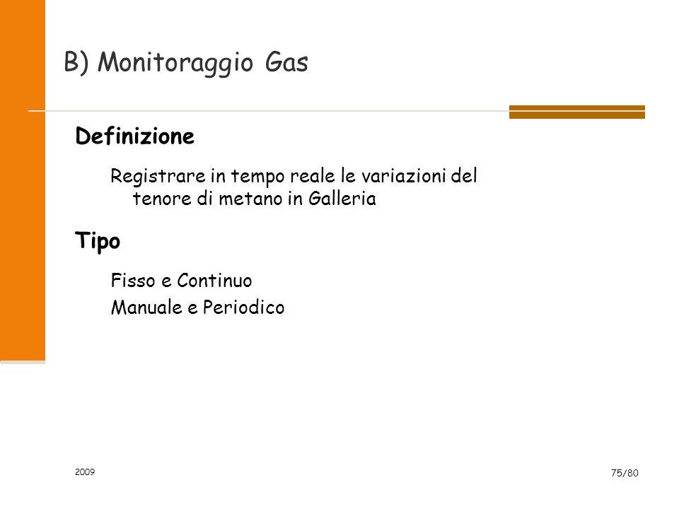 2009 75/80 B) Monitoraggio Gas Definizione Registrare in tempo reale le variazioni del tenore di metano in Galleria Tipo Fisso e Continuo Manuale e Pe