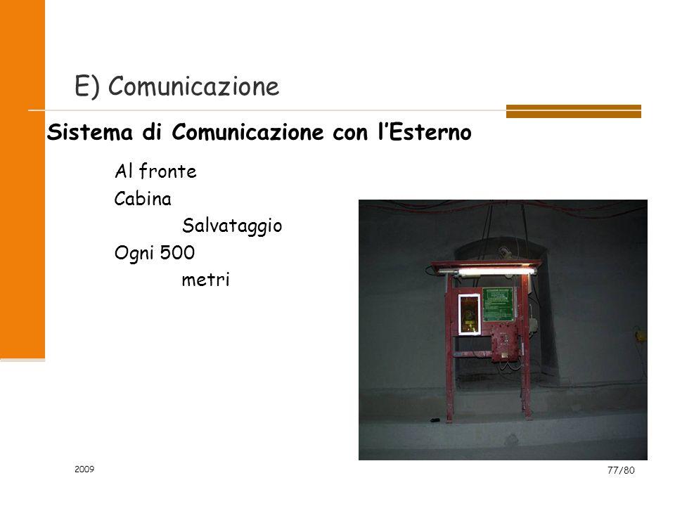 2009 77/80 Sistema di Comunicazione con l'Esterno Al fronte Cabina Salvataggio Ogni 500 metri E) Comunicazione