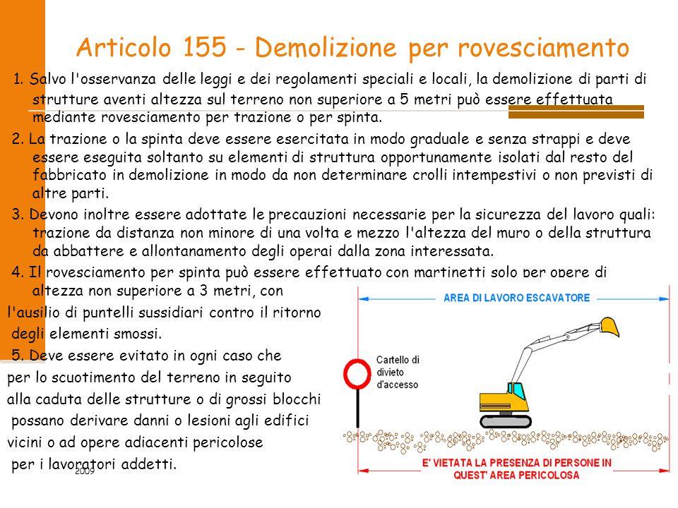 Articolo 155 - Demolizione per rovesciamento 1. Salvo l'osservanza delle leggi e dei regolamenti speciali e locali, la demolizione di parti di struttu