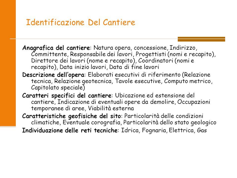Identificazione Del Cantiere Anagrafica del cantiere: Natura opera, concessione, Indirizzo, Committente, Responsabile dei lavori, Progettisti (nomi e