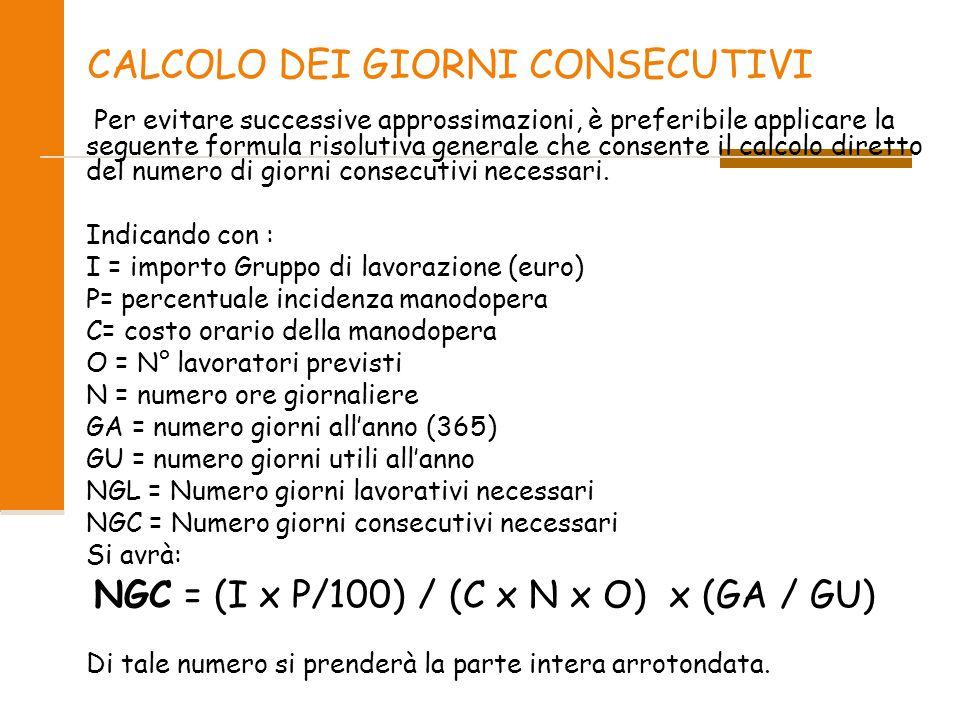 CALCOLO DEI GIORNI CONSECUTIVI Per evitare successive approssimazioni, è preferibile applicare la seguente formula risolutiva generale che consente il