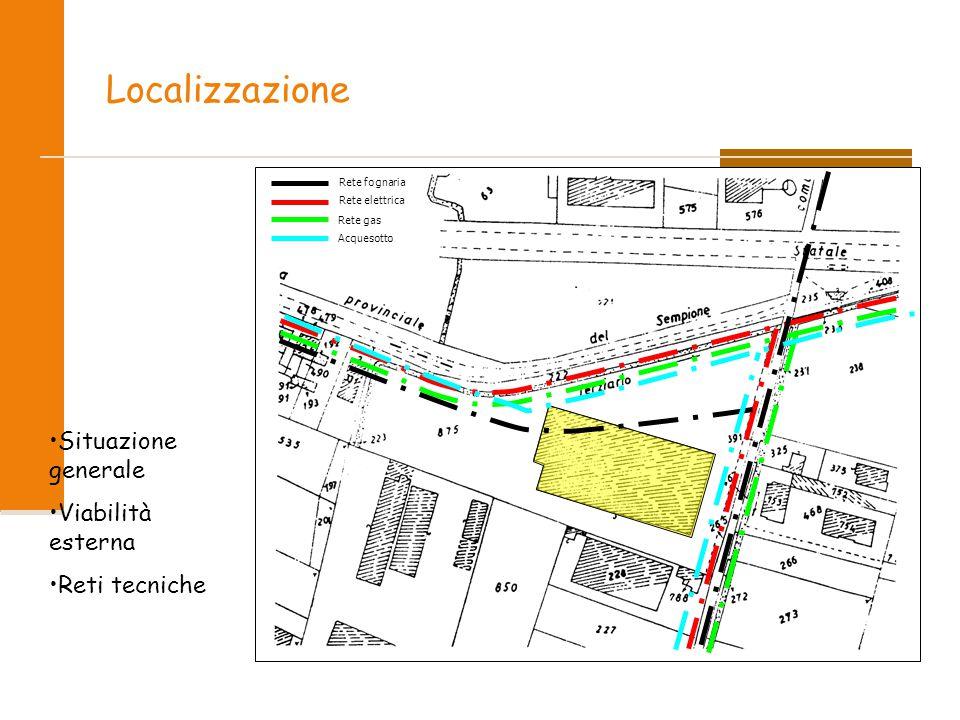 Localizzazione Rete fognaria Rete elettrica Rete gas Acquesotto Situazione generale Viabilità esterna Reti tecniche