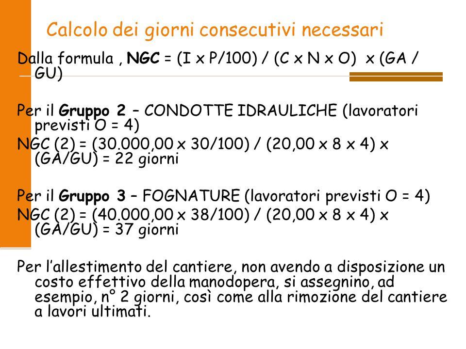 Calcolo dei giorni consecutivi necessari Dalla formula, NGC = (I x P/100) / (C x N x O) x (GA / GU) Per il Gruppo 2 – CONDOTTE IDRAULICHE (lavoratori previsti O = 4) NGC (2) = (30.000,00 x 30/100) / (20,00 x 8 x 4) x (GA/GU) = 22 giorni Per il Gruppo 3 – FOGNATURE (lavoratori previsti O = 4) NGC (2) = (40.000,00 x 38/100) / (20,00 x 8 x 4) x (GA/GU) = 37 giorni Per l'allestimento del cantiere, non avendo a disposizione un costo effettivo della manodopera, si assegnino, ad esempio, n° 2 giorni, così come alla rimozione del cantiere a lavori ultimati.