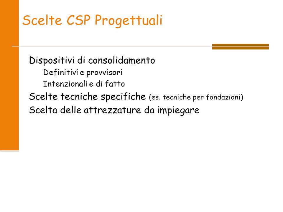 Scelte CSP Progettuali Dispositivi di consolidamento Definitivi e provvisori Intenzionali e di fatto Scelte tecniche specifiche (es. tecniche per fond