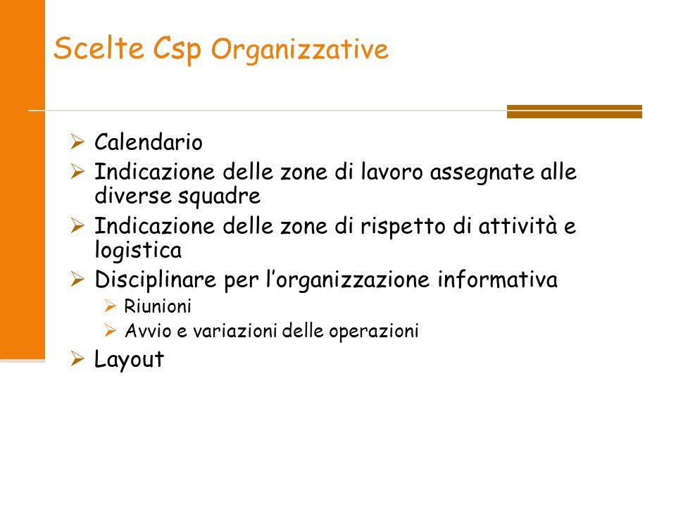 Scelte Csp Organizzative  Calendario  Indicazione delle zone di lavoro assegnate alle diverse squadre  Indicazione delle zone di rispetto di attivi